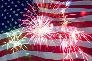 fireworks and the American flag
