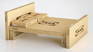 A bed made of ikea boxes