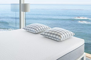 the kutson mattress in a room overlooking the sea