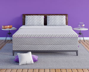 the mattress in a purple room